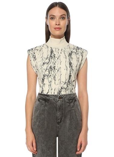 NetWork Kadın 1076682 Slim Fit Dik Yaka Desenli Bluz Gri